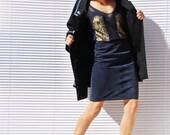 RESERVED FOR MELANIE // Blue Suede Skirt Leather Mini Skirt Blue Pencil Skirt High Waist Skirt Petite Skirt