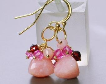 Perivian Pink Opal Cluster Earrings by Agusha. Pink Gemstone Dangles. Opal Earrings