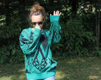 Knit Sweater Sea Green and Shimmery Mermain Gypsy