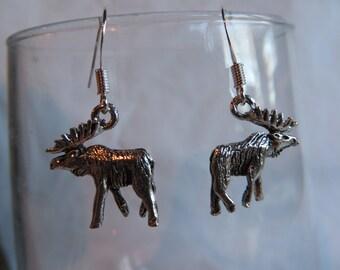 Silver Moose Earrings, earrings, moose, dangle