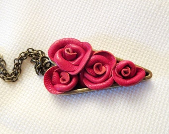 3rd anniversary gift -Leather flower  Necklace- Red Leather rose -heart prndant-valentines gift