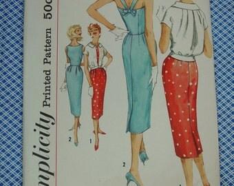 Vintage Pattern c.1958 Simplicity No.2567 Sleeveless Sundress, Jacket, Size 12 Uncut