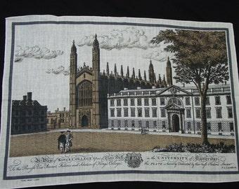 Vintage Souvenir Linen Tea Towel Kings College, University of Cambridge