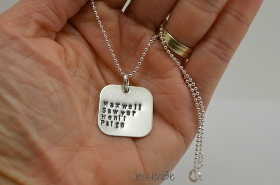 Personalized Hand Stamped Necklace ~ Mother Necklace ~ Mommy Jewelry ~ Kid's Names ~ Name Necklace ~ Square Necklace ~ Sterling Silver
