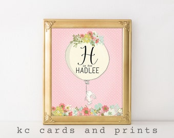 Hadlee Name Printable - H Nursery Monogram - Nursery Wall Art - Nursery Printable - Baby Name