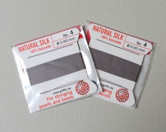 Natural Silk Cord With Needle - 2 packs - Size 4 - Grey