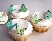 Edible butterflies, Wedding cake topper, 24 small shades of wafer paper green for cake decorating, cupcake decorating, cake pops.