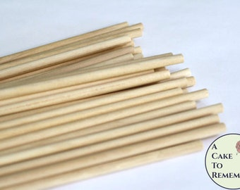 "50 wooden dowels for cake decorating, 12"" x 1/4"" wood dowels for cakes, dowels for stacking tiered wedding cakes, cake decorating supplies"