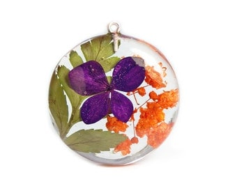 Real Flower Pendant - Real Flower Jewelry - Flower Pendant - Necklace Charm - Flower Jewelry - Purple Pendant