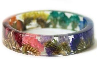 Bracelet -Jewelry with Real Flowers- Dried Flowers- Green bracelet- Dried Flowers- Rainbow Flower Bracelet -Flower Resin Jewelry