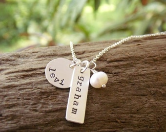 Mother Necklace Two Kids Names Stamped Sterling Silver Tags