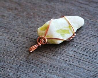 Healerite Copper Wire Wrapped Pendant #6197