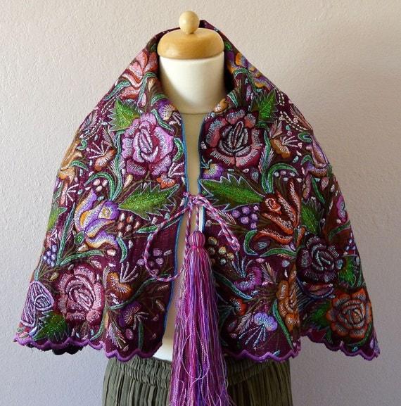 Mayan Mexican Chiapas Embroidered Caplet Shawl Purple Metallic