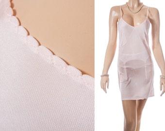 Delightfully feminine slinky soft 'Mylesta de luxe' stretchy peach Celanese nylon 1960's vintage full slip petticoat underskirt - 3673