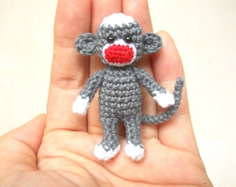 Mini Sock Monkey 2 inches - Amigurumi Crochet Miniature Sock Monkey Stuffed Animal - Made To Order