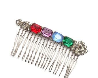 Art Deco Multi-Color Rhinestone Hair Comb Rainbow Red Blue Purple Green True Vintage 20s Handcrafted Headpiece Head Piece Hair Piece 1000130