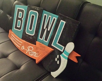 Mid Century Inspired Bowling Wall Sign