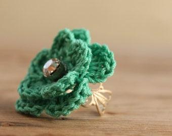 Crochet Ring - Green Mint flower crocheted ring - Delicate Flower Ring - Jewellry crocheted