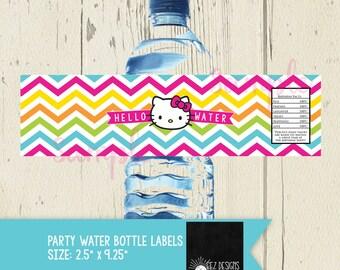 Hello Kitty Digital Water Bottle Labels