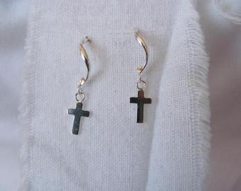 Sterling Cross Earrings Pierced Ears Religious Earrings Goth Style