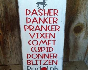All of Santa's Reindeer, Rudolph, Christmas wood home decor sign, holiday wall sign, Santa, Christmas Wood Sign, Holiday Sign, dasher Dancer