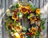 Fall Wreath , Wreath For The Door ,  Outdoor Fall Wreath , Autumn Wreath , Primitive Wreath , Wreath for The Door ,  READY TO SHIP