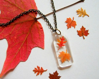 Two Autumn Leaves - Real Autumn Leaves Woodland Necklace - botanic jewelry, pressed leaves, Autumn necklace, leaf necklace, natural, ooak