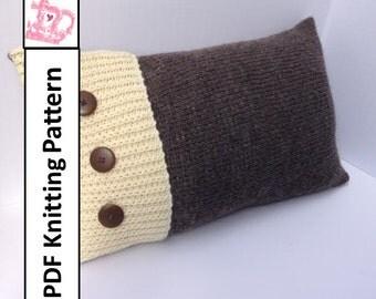 "PDF KNITTING PATTERN, knit pillow cover pattern, Colorblock pillow, knitting pattern, 20""x20"", 12""x20"", cushion cover knitting pattern"