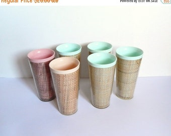 ON SALE Tiki Barware - Vintage Tiki Tumblers - Pastel Tumblers - Vintage Kitchen - Thermal Tumblers