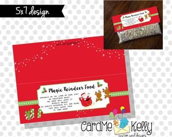 INSTANT DOWNLOAD Printable Christmas Reindeer Food Treat bag Toppers Labels