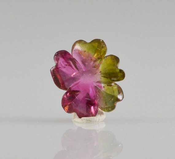 Watermelon tourmaline hand carved flower