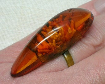 Russian Amber Ring. Soviet 1970s or earlier, Statement, Mod era Large Stone