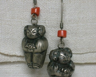 Chinese Silver Earrings. Little Girl Bells & Coral Beads. Cute Ethnic Tribal Boho