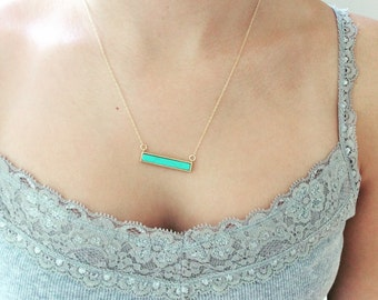 Turquoise Bar Necklace, Gold Bar Necklace, Gold Necklace, Dainty Gold Necklace Best Friend Gift Birthday Gift Bridesmaid gift, Minimalist