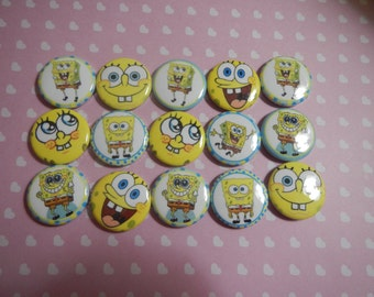 15 Spongebob  Inspired Character Pinback Button Shower Goody Gift Treat  Party Favors Brooches