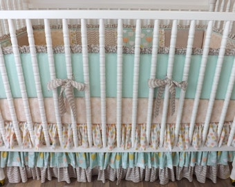 READY to SHIP- Girl Crib Bedding- Peach and Mint Baby Bedding- Custom Bedding- Littlest