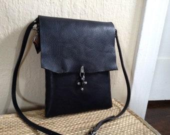 Leather Crossbody Satchel Bag - black