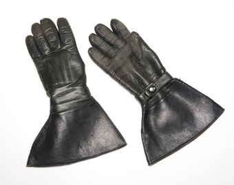 vintage 30s gauntlet gloves Stetson driving motorcycle gloves pilot flying work black leather 1930 biker wool lined 7.5 7 1/2 small