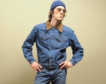 vintage Wrangler ranch jacket 60s 70s distressed denim distressed western work coat 1960s 1970s corduroy collar blanket lined large L