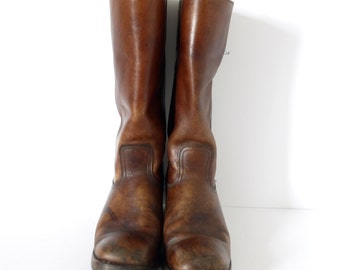 French Vintage  mens  brown leather high riding- Size 9 EU size 42
