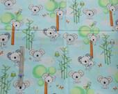 Fabric 1 Yard Koala Party Koala Bears Trees Birds Light Blue Quilting Cotton StudioE