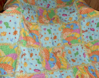 Jesus & Me Turtles Butterflies Ducks Patches Raggedy Rag All Cotton Baby Toddler Quilt Blanket