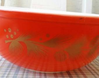 Pyrex Bowl Red Gold Leaf Pattern Vintage #404 Mixing Bowl Ovenware