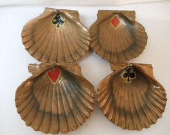 Personal Brass Shell Ashtray Designed , Heart, Dimond, Club and Spade