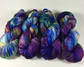 Light Worsted, DK, Superwash Merino, 100 grams, Hand Dyed Yarn, Throw Back Action, double knitting