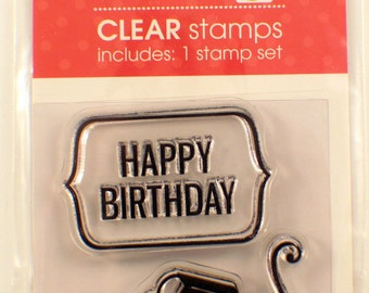 Happy Birthday Cupcake Studio G Clear Cling Rubber Stamp Set