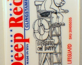 Deep Red Rubber Stamp Life Guard