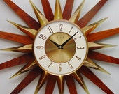 Starburst Wall Clock 1970s by Elgin - Mid Century Modern Atomic Design. Completely Refurbished