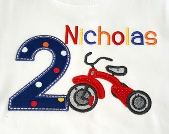Boys birthday number with tricycle applique shirt can be personalized