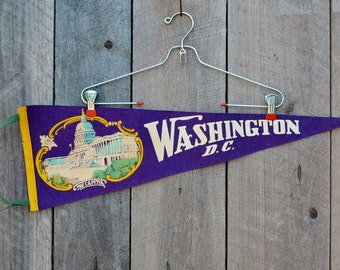 Vintage Washington DC Pennant The Capitol Purple Yellow White Felt United States Travel Souvenir Wall Decor Vacation Collectible